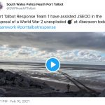 World War 2 Unexploded Bomb disposed of at Aberavon Beach.